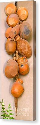Las Ollas -- Hanging Decorative Mexican Pottery Canvas Print by Barbie Corbett-Newmin