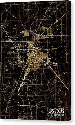 Las Vegas 1952 Brown Old Map Canvas Print