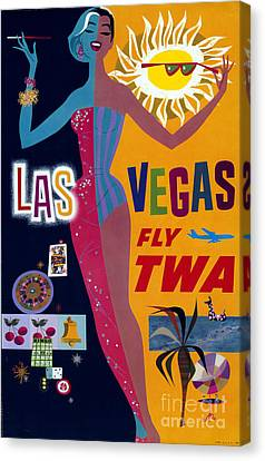 Show Girl Canvas Print - Las Vegas Fly Twa Poster by Science Source