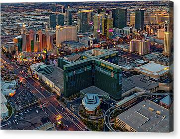 Canvas Print featuring the photograph Las Vegas Nv Strip Aerial by Susan Candelario