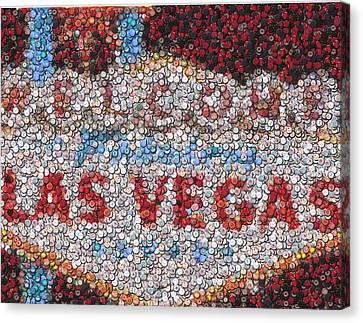 Las Vegas Sign Poker Chip Mosaic Canvas Print by Paul Van Scott