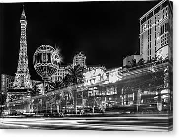 Las Vegas Strip Light Show Bw Canvas Print by Susan Candelario