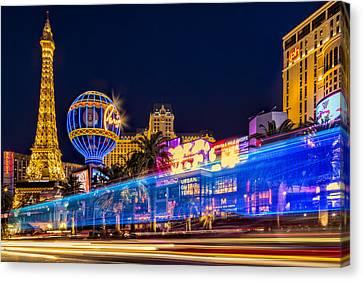 Las Vegas Strip Light Show Canvas Print by Susan Candelario