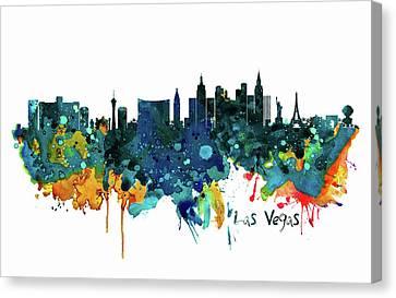 Colorful Paints Canvas Print - Las Vegas Watercolor Skyline by Marian Voicu