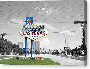 Las Vegas Welcome Sign Color Splash Black And White Canvas Print by Shawn O'Brien
