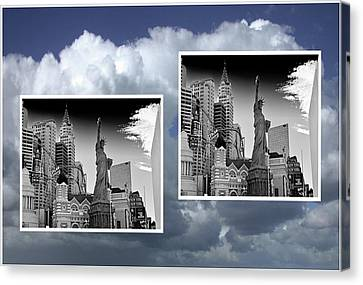 Canvas Print featuring the painting Las Vegas,new York by Athala Carole Bruckner