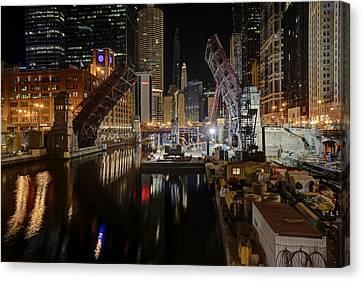 Lasalle St Draw Bridge Maintenance - Chicago River Canvas Print by Daniel Hagerman