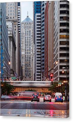 Lasalle Street Canyon With Chicago Board Of Trade Building At The South Side II - Chicago Illinois Canvas Print by Silvio Ligutti
