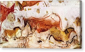Lascaux Cow And Horses Canvas Print