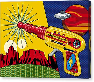 Ufo Canvas Print - Laser Gun by Ron Magnes