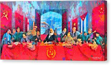 Worker Canvas Print - Last Communist Supper 10 Colorful - Pa by Leonardo Digenio