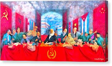 Worker Canvas Print - Last Communist Supper 20 - Pa by Leonardo Digenio