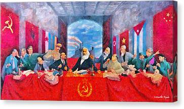 Communism Canvas Print - Last Communist Supper 30 - Pa by Leonardo Digenio