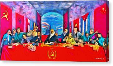 Last Communist Supper 40 - Da Canvas Print by Leonardo Digenio
