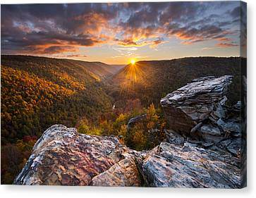 Sunburst Canvas Print - Last Light At Lindy Point by Joseph Rossbach