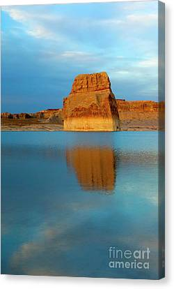 Canvas Print featuring the photograph Last Light At Lone Rock by Mike Dawson