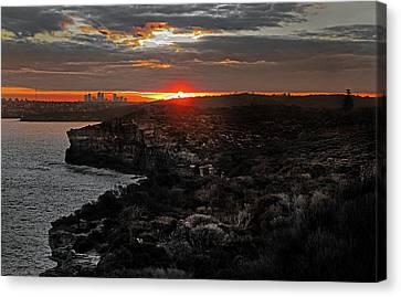 Canvas Print featuring the photograph Last Light Over North Head Sydney by Miroslava Jurcik