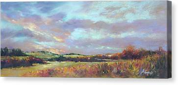 Last Light Over The Hills. France Canvas Print by Rae Andrews