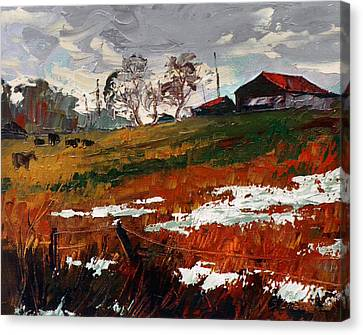 Last Patches Of Snow Canvas Print by Sergey Zhiboedov