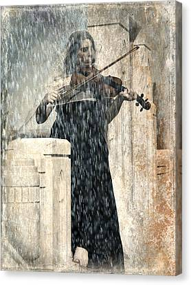 Last Song Girl With Violin Canvas Print by Pamela Patch