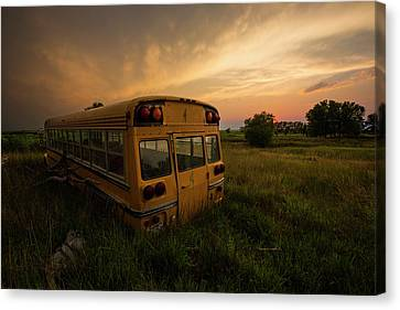 School Bus Canvas Print - Last Stop  by Aaron J Groen