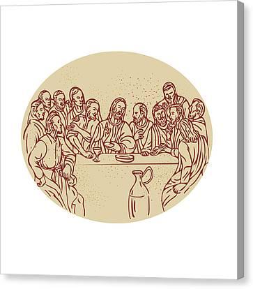 Last Supper Jesus Apostles Drawing Canvas Print by Aloysius Patrimonio