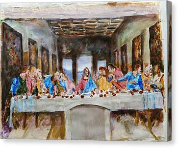 Last Supper. Leonardo Da Vinci. Sketch Canvas Print by Bachmors Artist