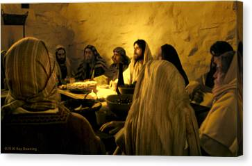 Jesus Canvas Print - Last Supper by Ray Downing
