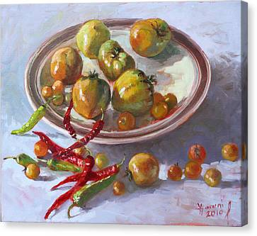 Chilli Canvas Print - Last Tomatoes From My Garden by Ylli Haruni