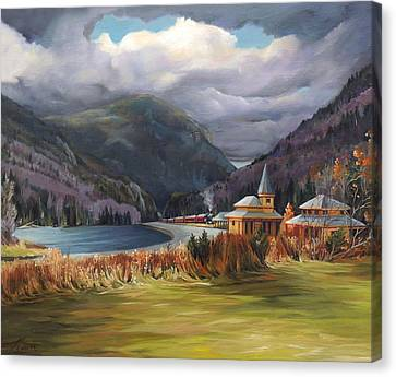 The Nature Center Canvas Print - Last Train To Crawford Notch Depot by Nancy Griswold