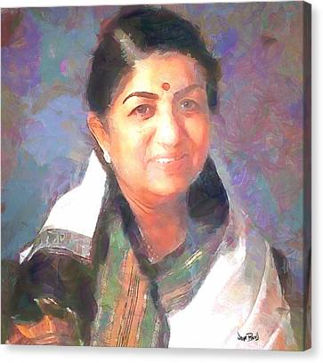 Lata Mangeshkar  Canvas Print by Wayne Pascall