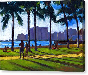 Oahu Canvas Print - Late Afternoon - Queen's Surf by Douglas Simonson