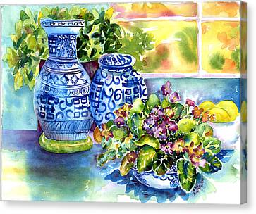 African Violets Canvas Print - Late Afternoon by Ann  Nicholson