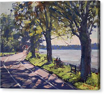 Late Afternoon At Niawanda Park Canvas Print by Ylli Haruni