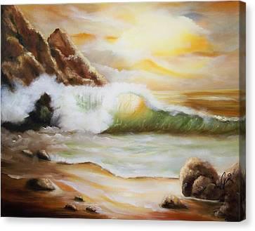 Late Afternoon Beach Canvas Print by Joni M McPherson