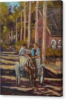 Late Afternoon Carriage Ride Canvas Print by Charles Schaefer