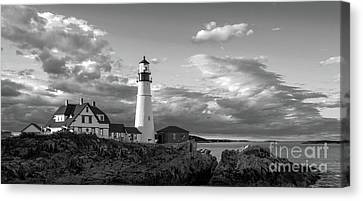 Late Afternoon Clouds, Portland Head Light  -98461 Canvas Print by John Bald