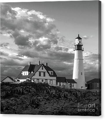 Late Afternoon Clouds, Portland Head Light  -98461-sq Canvas Print by John Bald