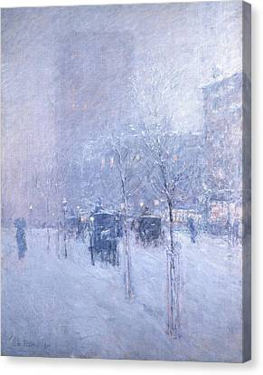 Late Afternoon, New York, Winter Canvas Print by Childe Hassam