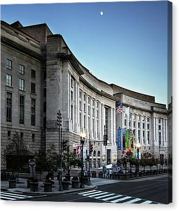 Canvas Print featuring the photograph Late Evening At The Ronald Reagan Building by Greg Mimbs