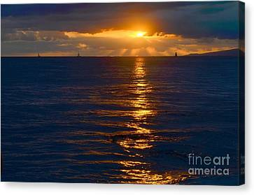 Canvas Print - Late Evening Sunset Waikiki Hawaii - 21 by Mary Deal