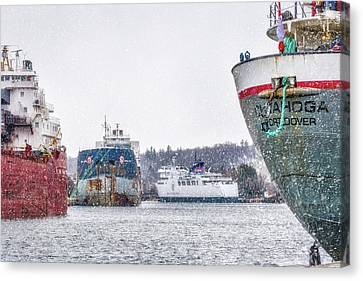 Late Harbour Snow Canvas Print