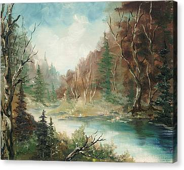 Canvas Print featuring the painting Late In The Season by Rebecca Kimbel