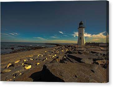 Late Light At The Light Canvas Print by Brian MacLean