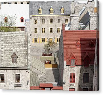 Late Lunch -- Two Friends Have A Meal In Quebec City, Canada Canvas Print by Darin Volpe