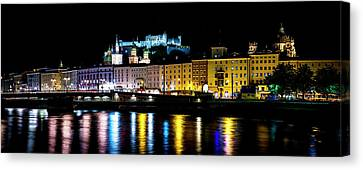 Canvas Print featuring the photograph Late Night Stroll In Salzburg by David Morefield