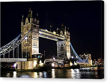 Sightseeing Canvas Print - Late Night Tower Bridge by Elena Elisseeva