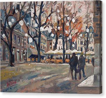 Late November At The Our Lady Square Maastricht Canvas Print by Nop Briex