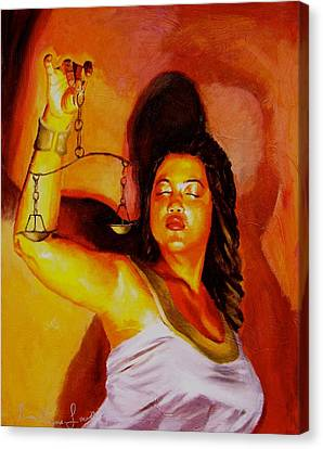 Latina Lady Justice Canvas Print by Laura Pierre-Louis