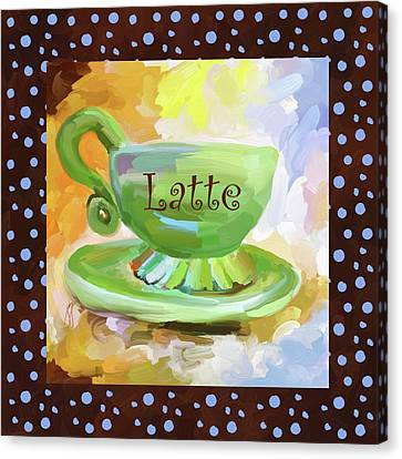 Latte Coffee Cup With Blue Dots Canvas Print by Jai Johnson
